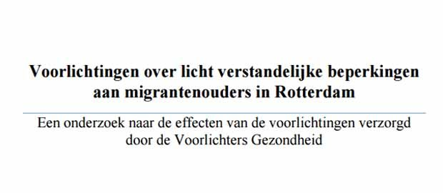 Voorlichtingen over licht verstandelijke beperkingen aan migrantenouders in Rotterdam